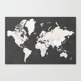Chalkboard world map with countries and states labelled Canvas Print