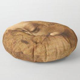 Head of a Woman Painting by Leonardo da Vinci Floor Pillow