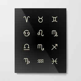 Zodiac Symbols - Black Metal Print