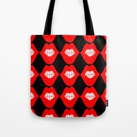 lip Tote Bags featuring lip by Panic Junkie