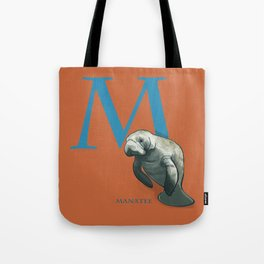 M is for Manatee: Under Appreciated Animals™ ABC nursery decor sea life red unusual animals Tote Bag