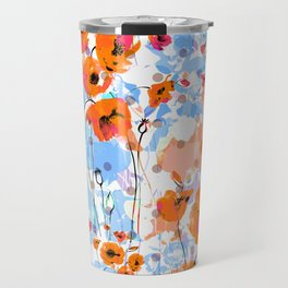 Abstract floral seamless pattern painted by brush field poppies Travel Mug