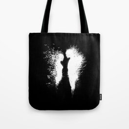 Transcending Duality (White on Black) Tote Bag
