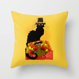 Thanksgiving Le Chat Noir With Turkey Pilgrim Throw Pillow