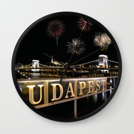 Chain bridge  with fireworks on Budapest city. Wall Clock