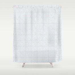 optical art pattern squares in white and a pale icy gray Shower Curtain