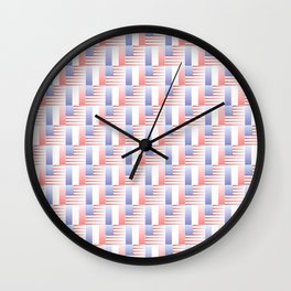 Mix of flag : usa and France 2 with color gradient Wall Clock