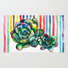 Rainbow Succulents - pencil & watercolor illustration Rug