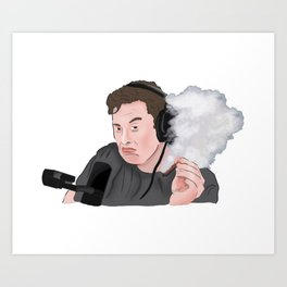 Elon Musk Smoking Art Print