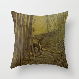 Bamboo Forest in Gold and Burnt Umber Throw Pillow