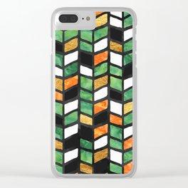 Herringbone Golden Jade Clear iPhone Case