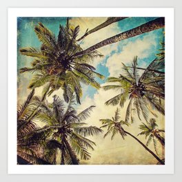 Vintage Blue Hawaii Palm Trees Art Print