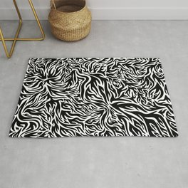 Black And White Psychedelic Flames Rug
