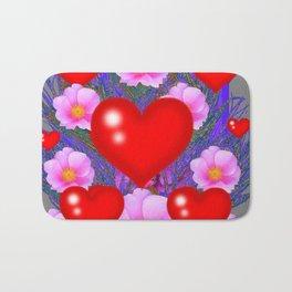 Red Hearts & Pink Wild Rose Valentine Purple Art Bath Mat