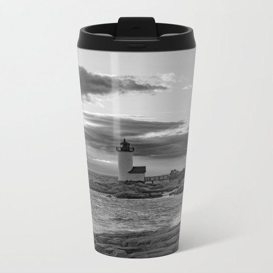Annisquam Lighthouse Black and white Metal Travel Mug