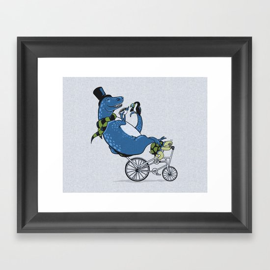Tandem T-Rex Tastes Tea with Tucan, as Turtle Toils Framed Art Print