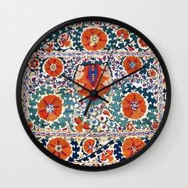 Shakhrisyabz Suzani Uzbekistan Antique Embroidery Print Wall Clock
