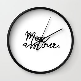 Printable Poster ''Bonjour Mon Amour'' French Decor, Printable Gift, Fashion Print Wall Clock