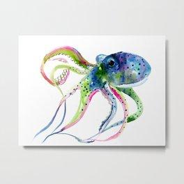 Blue Rainbow Octopus decor octopius lover gift Metal Print