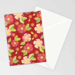 Digital Flowers in Sea of Red Stationery Cards