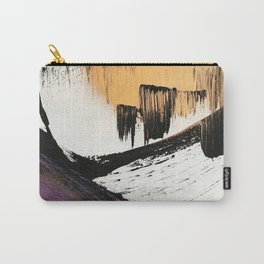 Axis [2]: a bold, minimal abstract in gold, purple, blue, black and white Carry-All Pouch