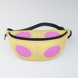 Quilt Circle Stitch Style - Light Yellow Pink Fanny Pack