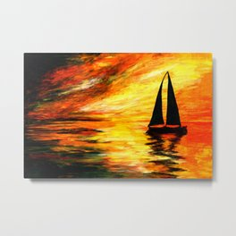 Dramatic Sunset Sailboat Glow Metal Print