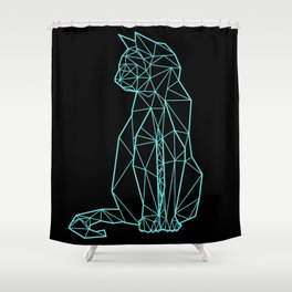 modern black and blue geometric architectural cat Shower Curtain