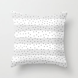 Simple Christmas seamless pattern Black Confetti on Silver Grey and White Stripes Background Throw Pillow