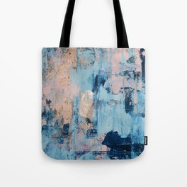 Sunbeam: a pretty abstract painting in pink, blue, and gold by Alyssa Hamilton Art Tote Bag