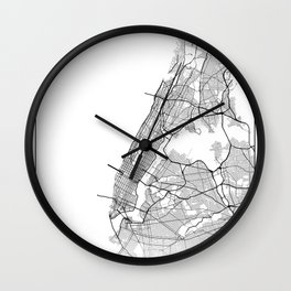 Minimal City Maps - Map Of Manhattan, New York, United States Wall Clock