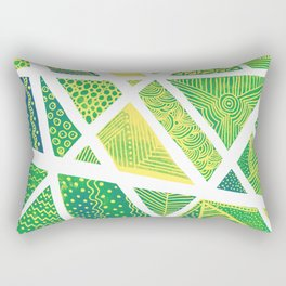 Geometric doodle pattern - green and yellow Rectangular Pillow