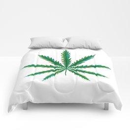 Marijuana. Cannabis leaf  Comforters