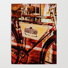 Barber shop vintage photograph of an antique bicycle Poster