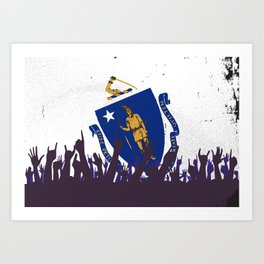 Massachusetts State Flag with Audience Art Print