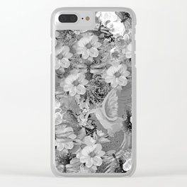 PARROTS MAGNOLIAS ROSES AND HYDRANGEAS TOILE PATTERN IN GRAY AND WHITE Clear iPhone Case