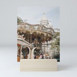 Sacre-Coeur Carousel   empty colourful merry go round   Paris travel prints   Saige Ashton Prints Mini Art Print
