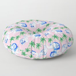 Chinoiserie blue and white porcelain Elephants on pink with palm trees Floor Pillow