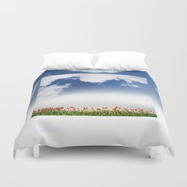 Red and yellow tulips and cloudscape Duvet Cover