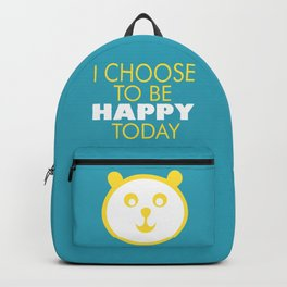 Happy panda, I choose to be happy today inspirational quote Backpack