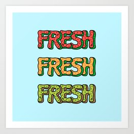 Fresh Watermelon, Cantaloupe Melon, Kiwi Art Print