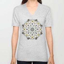 Blackbird Floral Mandala Unisex V-Neck