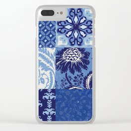 Blue and White Patchwork Squares Clear iPhone Case