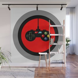 Game Controller in Red Target Wall Mural