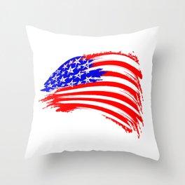 USA Sketched Flag Throw Pillow