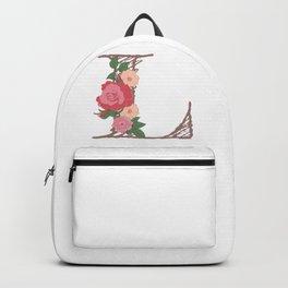 """Rose Gold Floral Letter """"L"""" Backpack"""