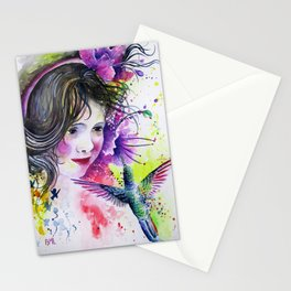 Hummingbird and Little Girl Stationery Cards
