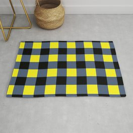 Blue & Yellow Checkered Squares Rug
