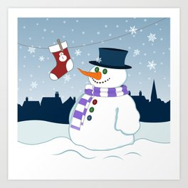 Snowman & Stocking Christmas Scene Art Print