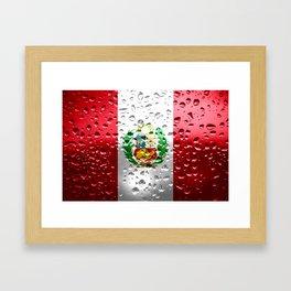 Flag of Peru - Raindrops Framed Art Print